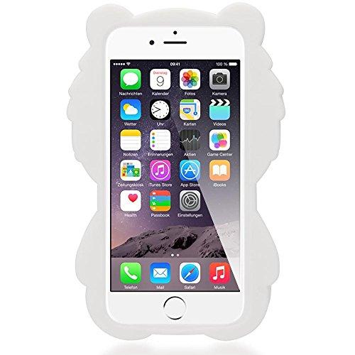 iPhone 6S 6 3D Cover Custodia Protezione di NICA, Ultra-Slim Cartoon Case Protettiva Morbido Cellulare in Silicone Gel, Gomma Bumper Sottile per Telefono Apple iPhone 6S 6, Designs:Chick White Bear