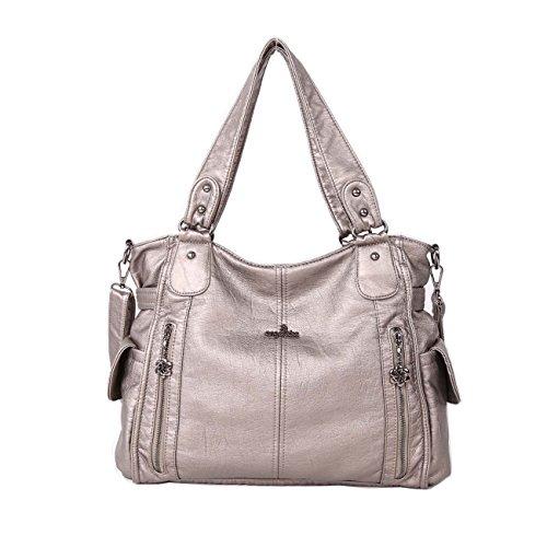 Angelkiss 2 zip più alte tasche borse donna / tasche in lana lavata / borse a tracolla 1193 Grigio