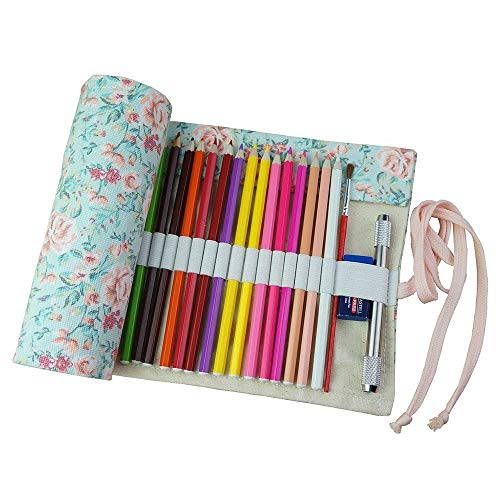 Xuxuou Mäppchen Rolltasche Farbiges Federmäppchen Federtasche Kunst Stift Farbstift Schreibpinsel Aufbewahrungstasche Für 72 Buntstifte (Bleistifte sind nicht enthalten)