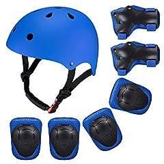 Idea Regalo - SKL Set di Casco, Ginocchiere, gomitiere e Guanti in Gel per Bambini, per Hoverboard, Scooter, BMX e Bicicletta (Blu)