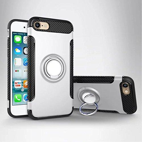 YHUISEN Rüstung Dual Layer 2 in 1 Heavy Duty Shockproof Schutzhülle mit 360 Grad drehenden Finger Ring Halter und Magnet Car Holder Case für iPhone SE / 5S / 5 ( Color : Gray ) Silver