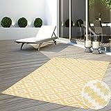 CC Teppich Flachflor Terrassenteppich Außenteppich Modern Outdoor fest Geknüpft Outside Outdoor Verschiedene Designs, Größe in cm:80 x 150 cm, Sunset:Karo-Gelb