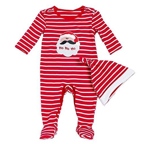 DecStore Baby Mädchen Jungen 2pcs Weihnachtskostüm Sankt Footies Strampler Pyjama Schläfer mit Hut(Red Footed 59cm)