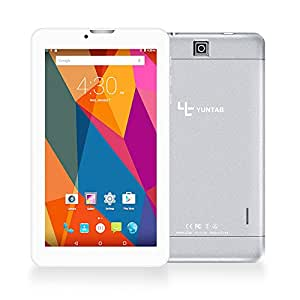 Yuntab 7 pollici 3g Tablet PC Quad Core phablet 8GB ROM 1024 x 600 HD resolution Android 6.0 1.3 GHz Dual SIM solt 3G WiFi (Argento)