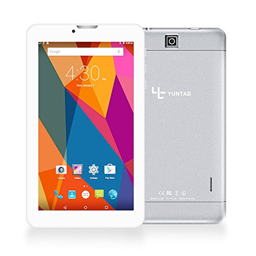 YUNTAB E706 Tablet 7 zoll Android 6.0 MT8321 Quad Core Tablet Legierungsmaterial Full hd IPS 1024*600 8GB Ram 2MP Tablet Und Telefon Tablet Mit Simkarte GPS Bluetooth Tablet (E706, Silber) (Gsm 7-zoll-tablet-telefon)