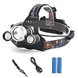 GES 5000LM Headlamp Batería Recargable Batería Recargable Luz de Escalada Luz 1 T62R2 LED Focus impermeable linterna linterna linterna para ir de excursión escalada de camping Pesca en bicicleta (1T62R2)
