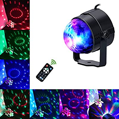Glückluz LED Party Lights DJ Lighting Sound Activated Disco Magic Ball Strobe Lights Birthday Parties Remote Control Stage Bar Lights for Home Room Dance Parties Home KTV Xmas Wedding Show Pub - RGB 3W 7 Colors by Jin Dian Electrinic