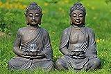 Buddha mit Windlicht, Buddhafigur, Gartenfigur mit Windlicht in den Händen aus Kunstharz, Sortiert, 1 Stück, Höhe ca. 61 cm