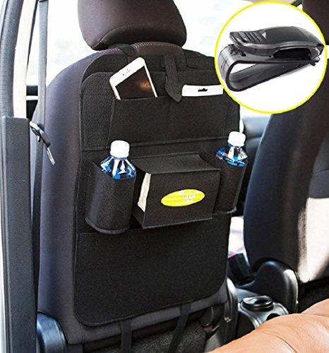 Rückenlehnenschutz, Auto Rücksitz Organizer Wolle Filz Sitz Tasche Schutz Halterung für Flaschen, Taschentücher Box, Spielzeuge (schwarz)