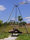 Farmcook Schwenkgrill - Dreibein mit Edelstahl Rost und Feuerschale in 3 verschiedenen Größen (Dreibein 180 cm - 70 cm Rost - 80 cm Feuerschale)
