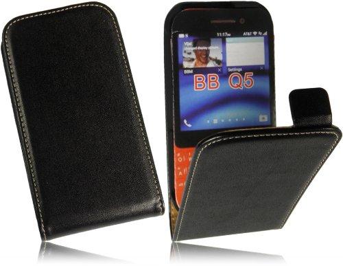 Für BlackBerry Q5 Slim Design Tasche Flip Case Premium Leder Vertikaltasche Handytasche Flip style Schutzhülle mit integrierten DisplaySchutz in Slim Design in Schwarz/Black
