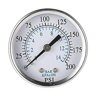 Man9Han1Qxi 0-200 psi 0-14 bar Hydraulischer Luftdruckmanometer 1/8 Zoll NPT-Manometer für rückseitige Montage 1