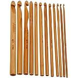 12x Demarkt Häkelnadeln set Häkeln Nadel set aus Holz mit verschiedene Größe