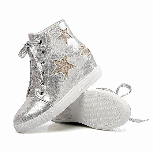 Mee Shoes Damen Glattleder hidden heel runde Stern kurzschaft Stiefel Silber