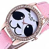 Dilwe Reloj de Mujeres Patrón de Panda Movimiento de Cuarzo con Banda PU Relojes Regalo de Mujer(Rosa)