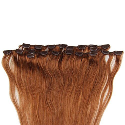Beauty7 120g Extensions de Cheveux Humains à Clip 100% Remy Hair Haute Qualité #8 Couleur Marron Clair Longueur 60 cm