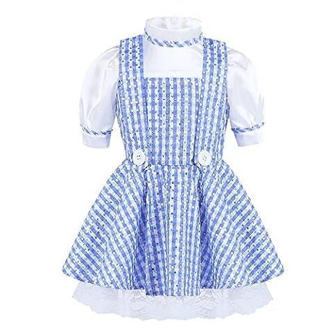 YiZYiF Kellnerin Kostüm Lolita Kleider Dienstmädchen-Outfit Mädchen Prinzessin Kostüm für Restaurant / Festival / Party / Abschlussball / Halloween Blau + Weiß 92-98 (Herstellergröße: (Kellnerin Kostüm Kind)