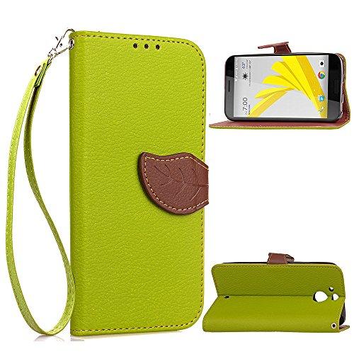 HTC 10 evo Hülle, Leder Handyhülle Stoßfest Schutzhülle Brieftasche Hülle Magnet Cover Geldbörse Handyhülle Anti-kratzer PU Leather Wallet Case mit Karte Slots & Halter (Grün)