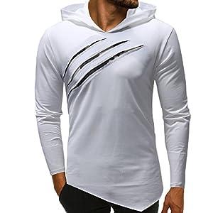 Pullover Für Herren,Camouflage Hoodie Lange Ärmel Unregelmäßig Kapuzenpullover Resplend Asymmetrie Einfarbig Kapuzenpulli Langärmliges Persönlichkeit Sweatshirt