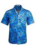 APTRO Herren Hemd Hawaiihemd Kurzarm Urlaub Hemd Freizeit Hemd Reise Shirt Kleine Fische HW002 M