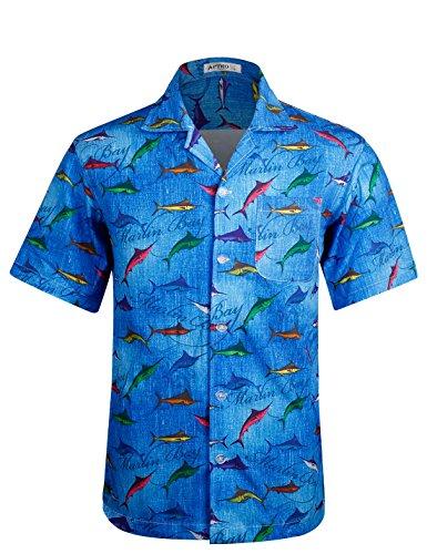 APTRO Herren Hemd Hawaiihemd Kurzarm Urlaub Hemd Freizeit Hemd Reise Shirt Kleine Fische HW002 S (Fischen Urlaub)