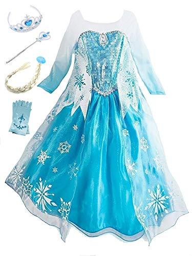 Monissy Mädchen Prinzessin Kostüm Kinder Cosplay Kostüm Set Mädchen Eiskönigin Kostüm Elsa Kleid Blau Langarm Schneeflocke Tutu Fasching Kostüm Weihnachten Karneval Verkleidung Party 100-150 3-11 jahr