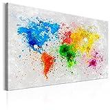 murando Bilder 120x80 cm - Leinwandbilder - Fertig Aufgespannt - 1 Teilig - Wandbilder XXL - Kunstdrucke - Wandbild - Poster Weltkarte Welt bunt Flecken k-B-0016-b-a