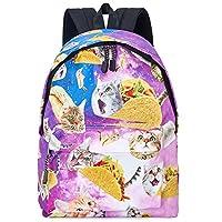 TUONROAD School Bags Funny Cat Galaxy 3D Printed Daily Backpacks Girls Stylish Casual Daypacks Lightweight Waterproof Travel Rucksacks Antitheft Outdoor Bags for Men/Women/Boys/Girls/Kids/Ladies