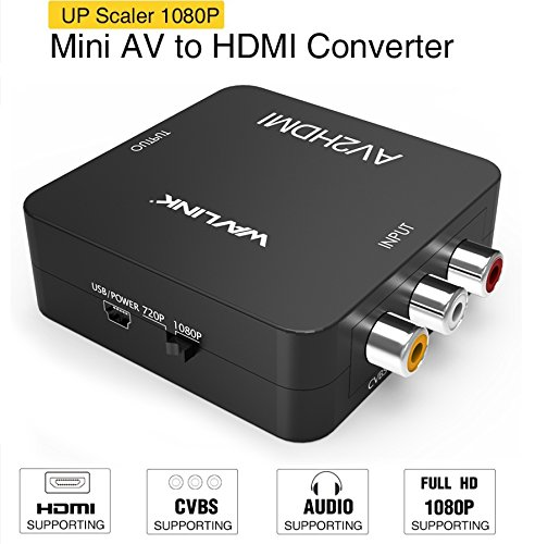 AV to HDMI Konverter, Wavlink 3RCA Composite AV auf HDMI Video Audio Converter Adapter Mini Box mit USB Charge Cable Support 1080p für PC Laptop PS4 PS3 TV STB VHS VCR Camera DVD