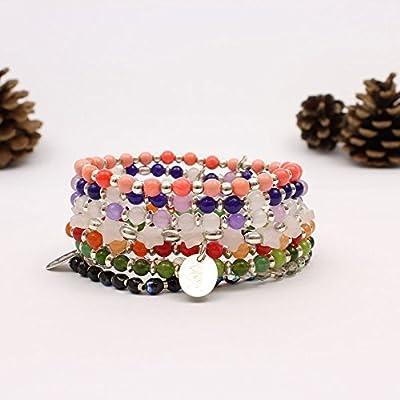 Bracelets perles semi-précieuses -bracelet perles jade - bracelet perles corail - bracelet perles quartz rose- 8 coloris disponibles