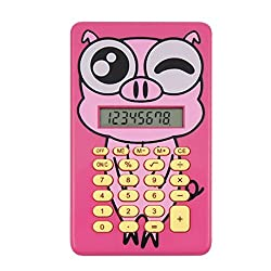 ELECTROPRIME Piggie Design Students 8 Digit LCD Mini Calculator, Pink