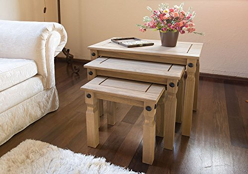 Nesting tables 3 tables rustic design corona mexican pine nesting tables 3 watchthetrailerfo