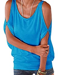 Mujeres Cuello Redondo Ocio Sin Tirantes Manga Corta Camisetas Blusas Tops Azul M
