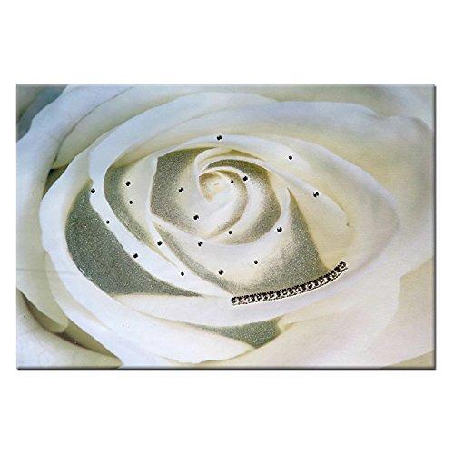 Quadro gioiello stampa su tela con strass e glitter Fiore bianco 60x90