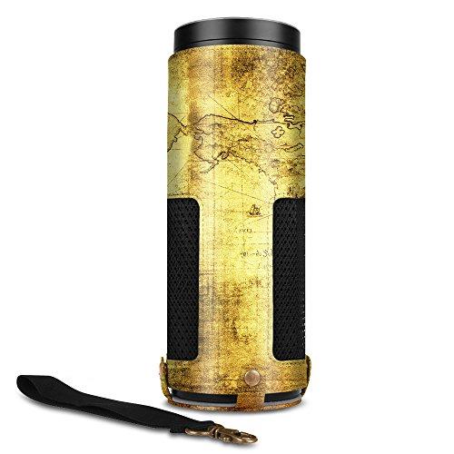 FINTIE Amazon Echo Case–Premium Faux Leather Protective Case with Detachable Strap for Echo, World Map
