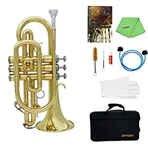 ammoon Bb Flat Cornet Brass Instrument with Carrying Case Gloves Cleaning Cloth Brushes set