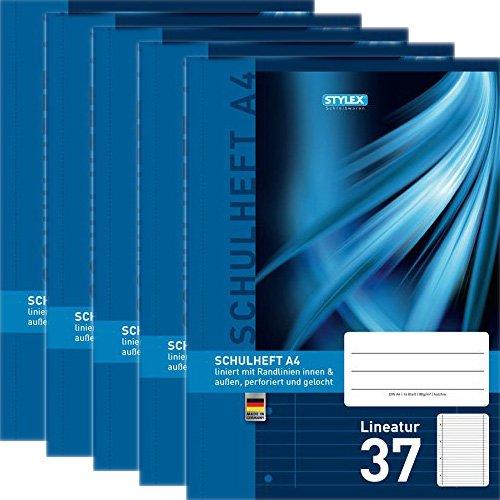 Preisvergleich Produktbild Stylex Sparpaket: 5 x Schulheft A4 lineatur 37, liniert, 29837
