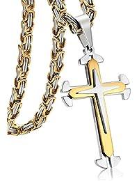 Jstyle Joyería en Acero Inoxidable Collar Hombre Bizantino Colgante Cruz Plata y Dorado Collar Largo 55cm 61cm 71cm