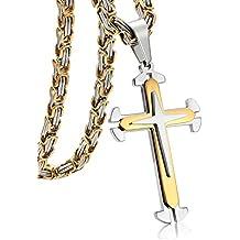 Jstyle Gioielli In Acciaio Inossidabile Collana Uomo Ciondolo Croce Bizantina con Colore Argento e Dorato Collane Lunghe 55,61,76 CM