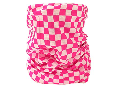 Foulard fazzoletto da collo sciarpa funzionale multiuso scaldacollo tubolare leggero e morbido estate primavera autunno inverno loop anello ragazze colorati stola accessorio moderno lifestyle, multiscarf 43-61:rosa fuchsia quadri 61