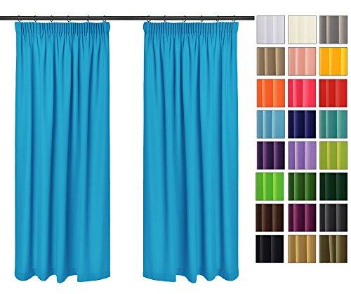 Rollmayer 2er Pack Vorhänge mit Bleistift Kollektion Vivid (Blau 41, 135x150 cm - BxH) Blickdicht Uni einfarbig Gardinen Schal für Schlafzimmer Kinderzimmer Wohnzimmer 2 Stück
