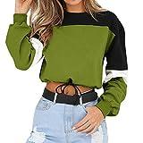 MEIbax Damen Long Sleeve Splicing Farbe Sweatshirt Pullover Tops Bluse Casual Baggy Langarmshirt Oberteile