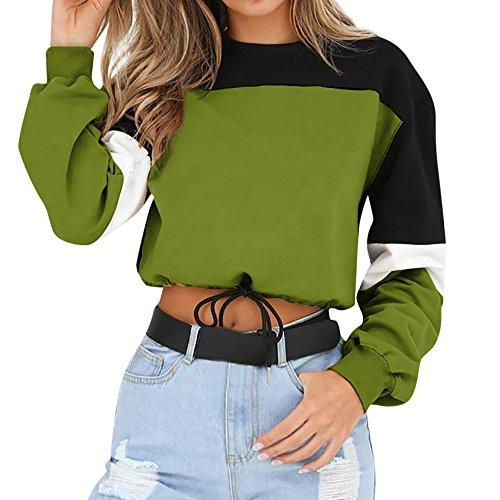 Sweatshirt Damen Kolylong® Frauen Beiläufig Streifen Patchwork Sweatshirt Herbst Mode Langarmshirts Kurz Zipper Pullover Sport Oberteil Bauchfrei Jumper T-Shirt Pulli Mantel Crop (Green-01, Large)