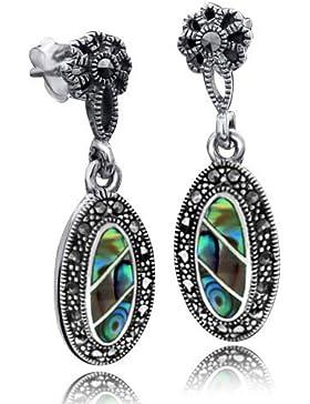 MATERIA Damen Ohrringe lang hängend 925 Sterling Silber mit grünem Perlmutt und Markasit #SO-27