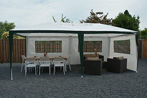 Tenda padiglione padiglione pieghevole 3 x 6 m gazebo tendone per ricevimenti   bianco   sorara   pe   fiancate / pareti laterali   per giardino terrazzo mercato campeggio festival impermeabile