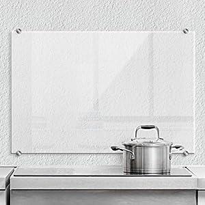 Spritzschutz transparent Küche Küchenrückwand Glas Sicherheitsglas durchsichtig Herd Spüle Wanddeko mit Klemmhalterungen Wall-Art - 60x40 cm