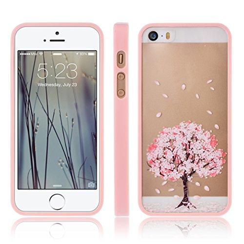 smartlegend Coque souple en TPU Bumper + Acrylique Transparent Hard Candy Coque pour iPhone 5/5S Motif rose motif fleur cadre Coque arrière souple en silicone en cas poche C