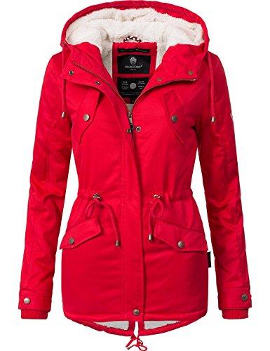 Marikoo Damen Jacke Winterjacke Baumwolljacke Kurzmantel Manolya (vegan hergestellt) Rot Gr. L