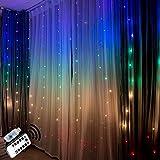Tenda luminosa tenda di luci interno esterno catena stringa luminosa led freddo lucine rame estern natale decorazioni pasquali arcobaleno colorato camera da letto con telecomando per bambino