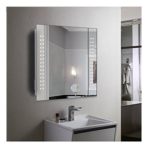 Panana Badzimmer Spiegelschrank mit LED Licht, Sensorschalter , Steckdose 65x60x11cm (HxBxT)